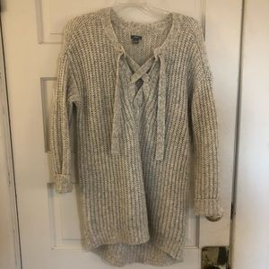 Grey Aerie Sweater with tie detail. Size XS